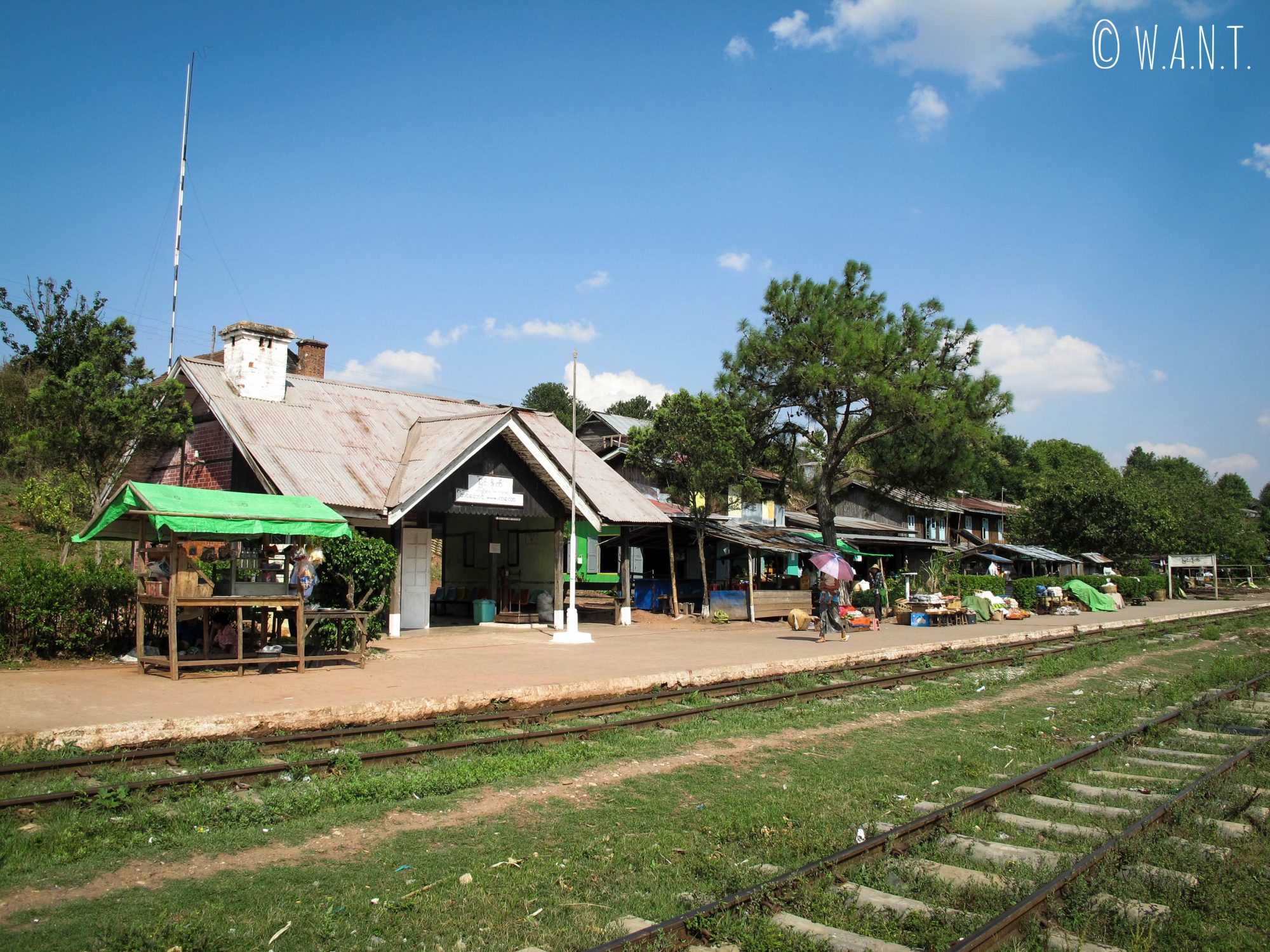 Gare au milieu de la campagne où toute la vie locale s'anime