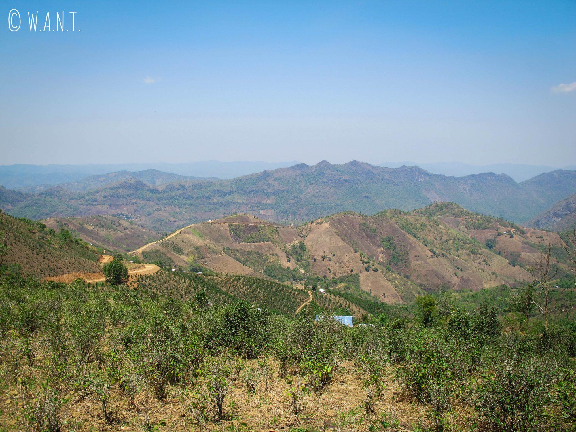 Panorama sur la vallée de Kalaw lors de notre premier arrêt