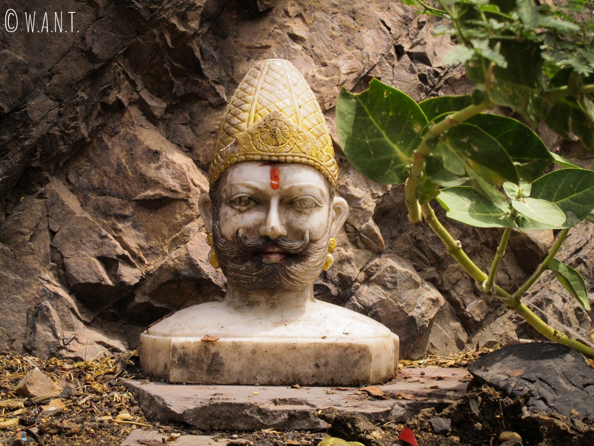 Buste découvert à flanc de montagne au Monkey temple de Jaipur