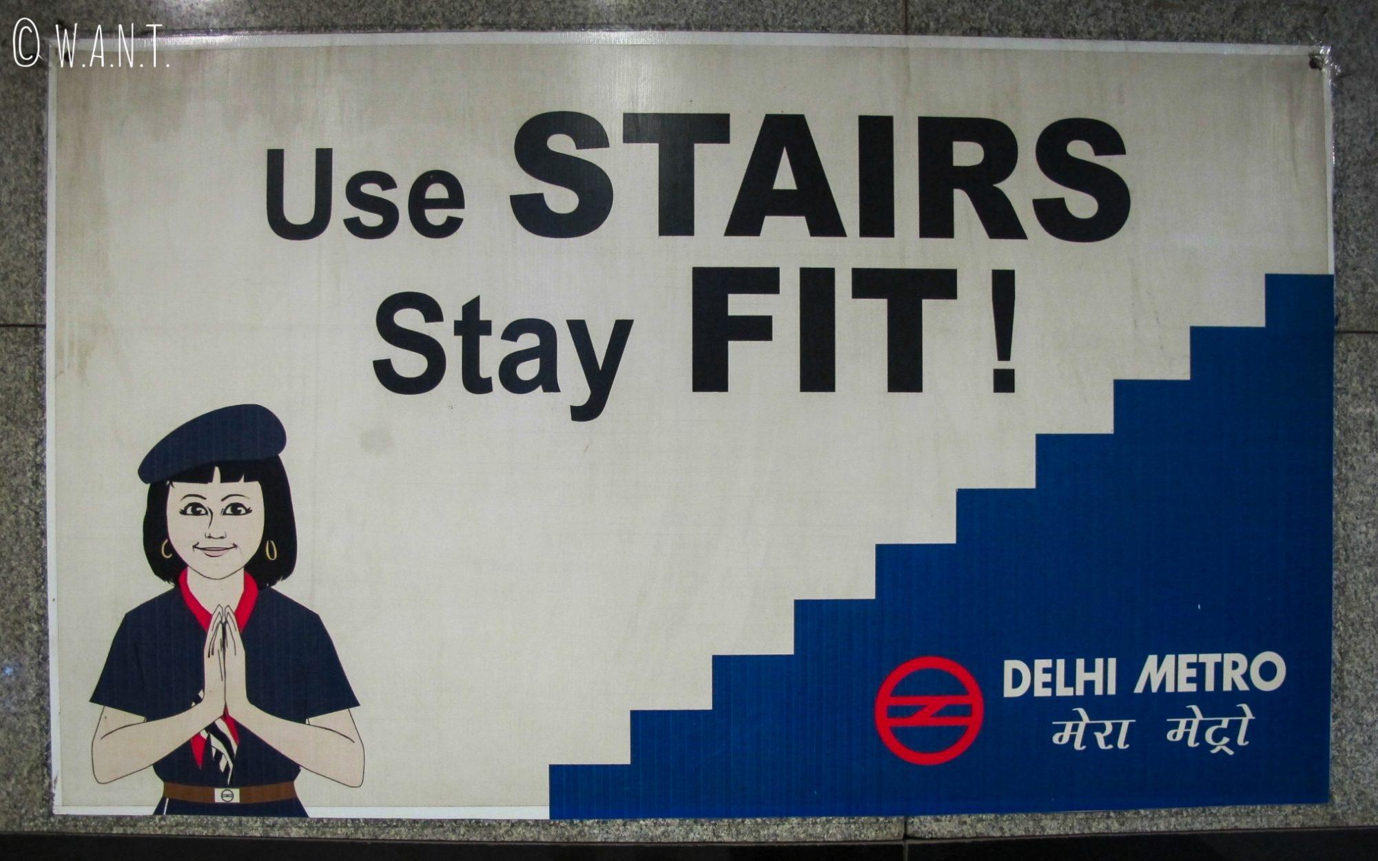 Campagne publicitaire dans le métro de Delhi - restez en forme, utilisez les escaliers !
