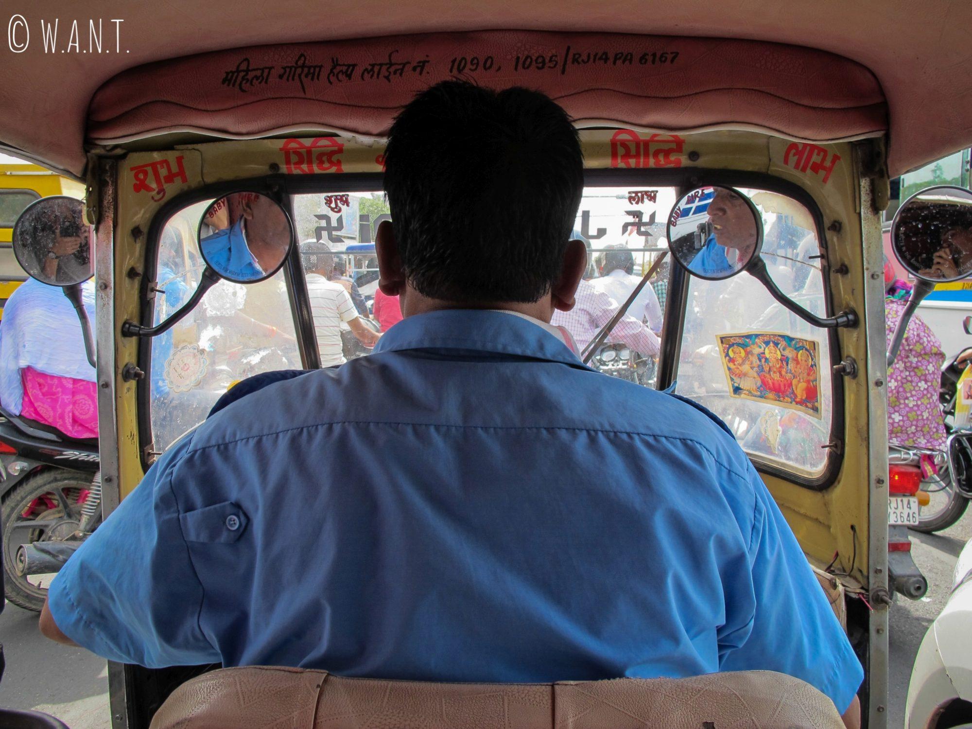 C'est en rickshaw que nous partons en direction du Monkey Temple de Jaipur