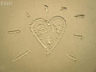 Dessin de canard dans le sable