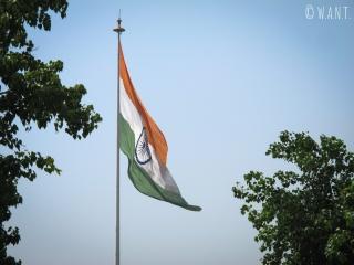 Drapeau de l'Inde au milieu de Connaught Place