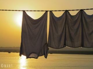 Le linge prend peu de temps à sécher à cette époque de l'année où le soleil tape fort à Varanasi