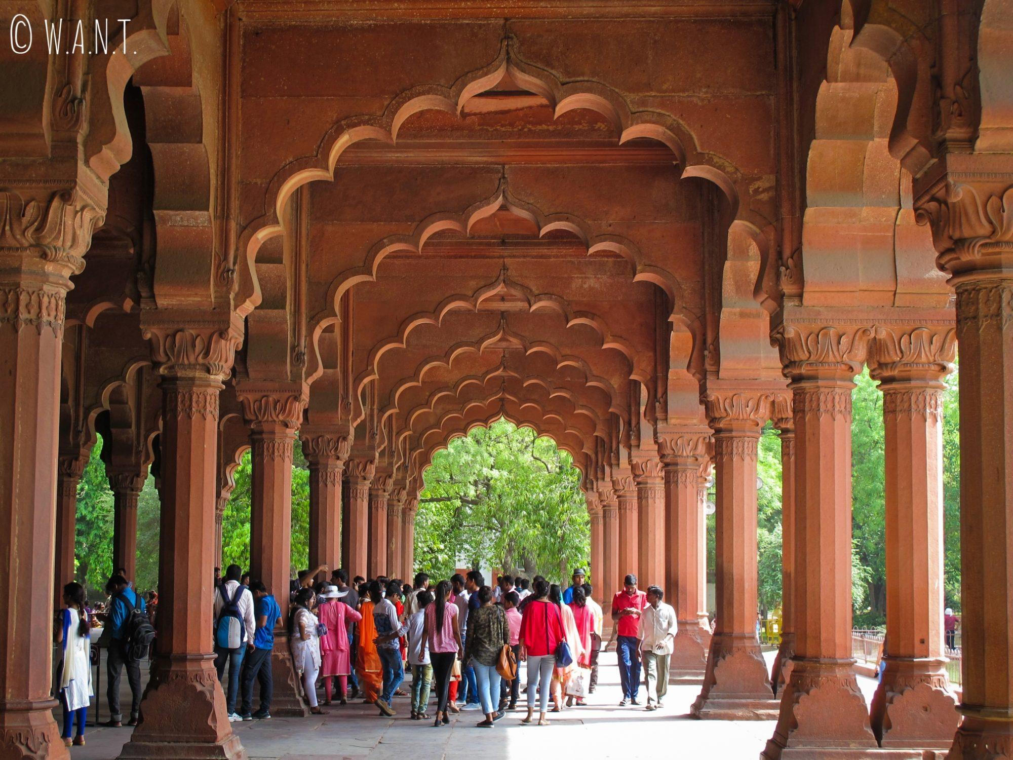 Magnifiques arcades au Fort Rouge de Delhi