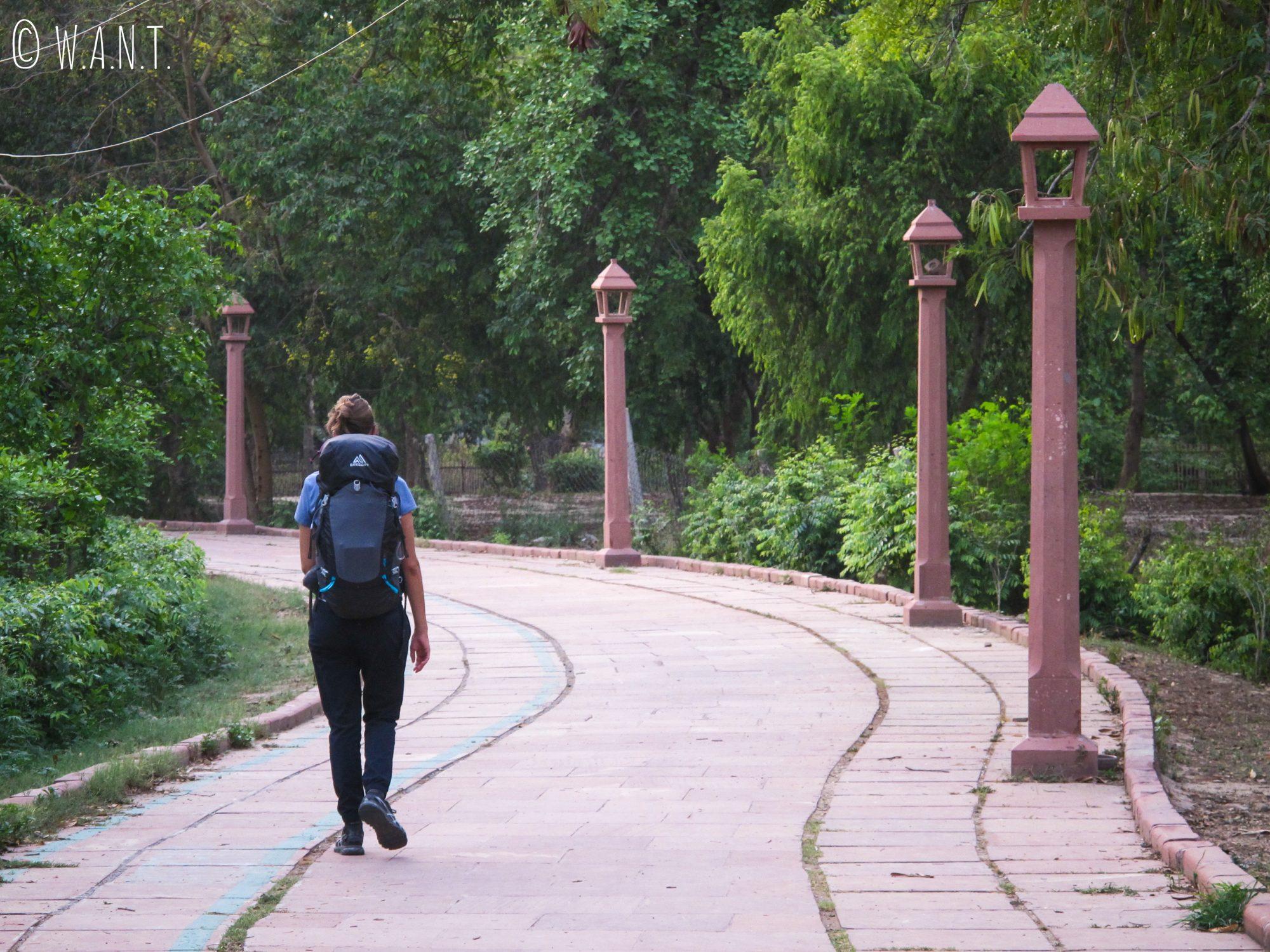 Pour rejoindre la gare d'Agra, nous traversons le très agréable parc Shahjahan