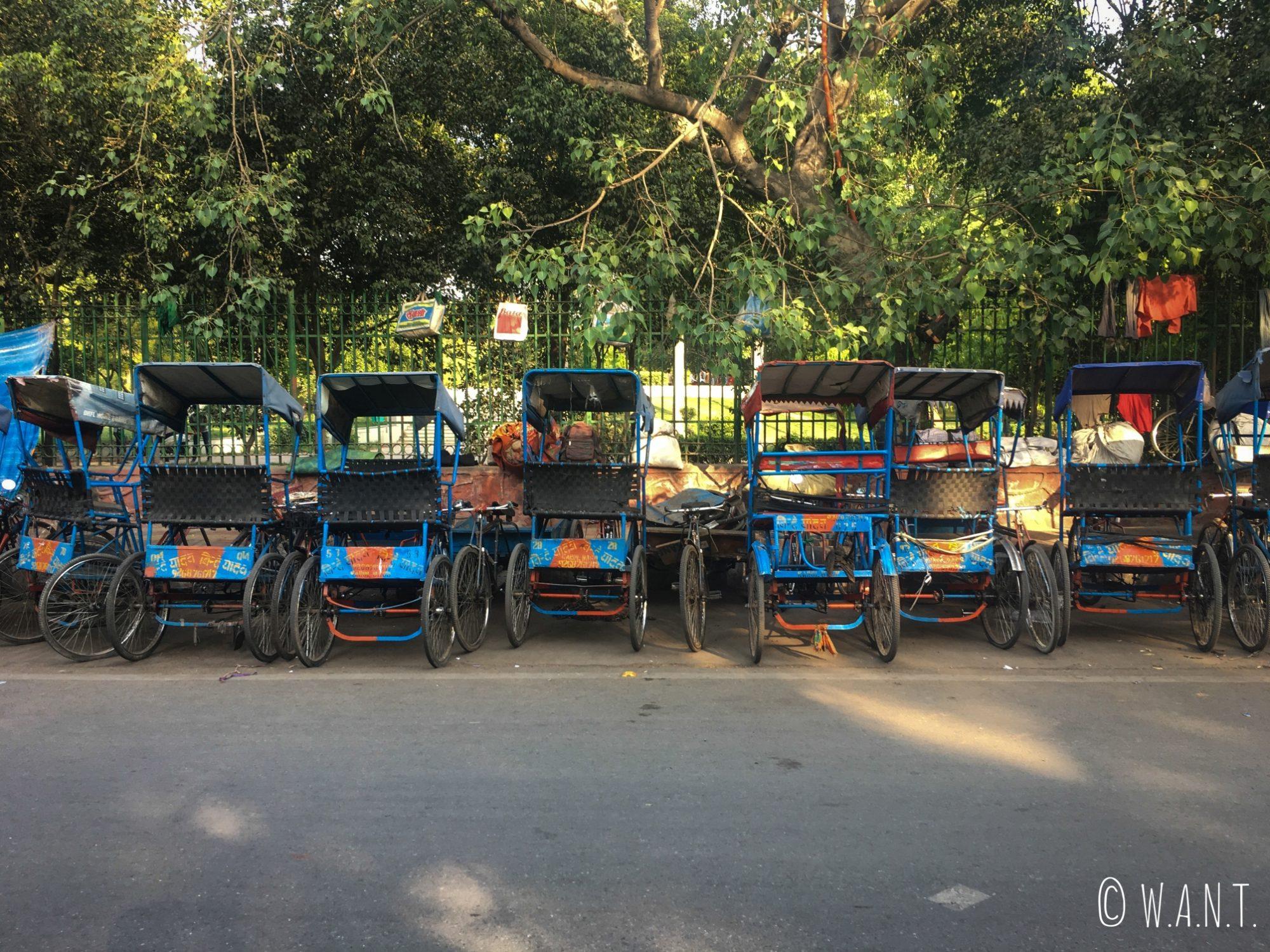 Rickshaws dans les rues de Delhi