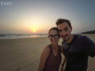 Selfie lors du coucher du soleil