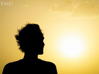 Silhouette de Benjamin lors du coucher de soleil
