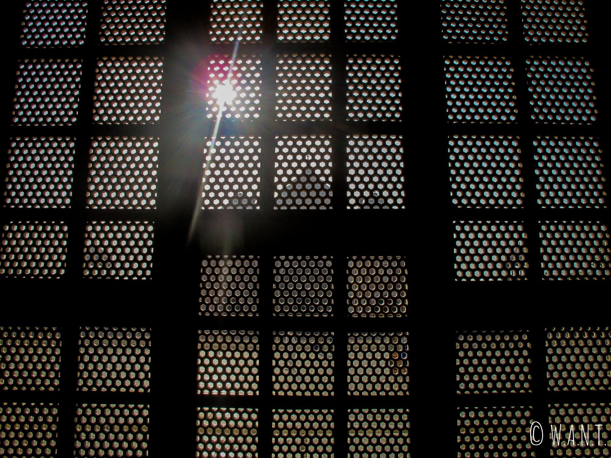 Silhouette du Mihman Khana derrière les trellis de pierres à l'intérieur du mausolée du Taj Mahal