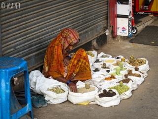 Vendeuse d'épices dans les rues de Delhi