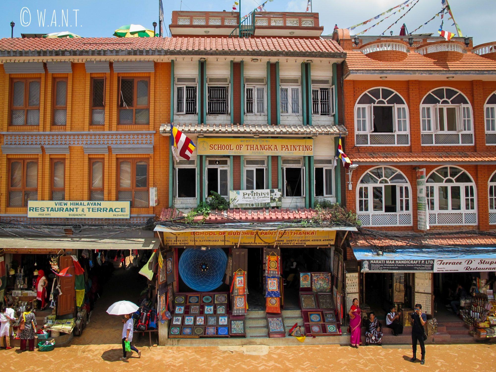 Façades du quartier entourant le stupa Bodnath