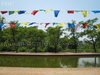 Il est possible de naviguer sur le canal central des jardins de Lumbini
