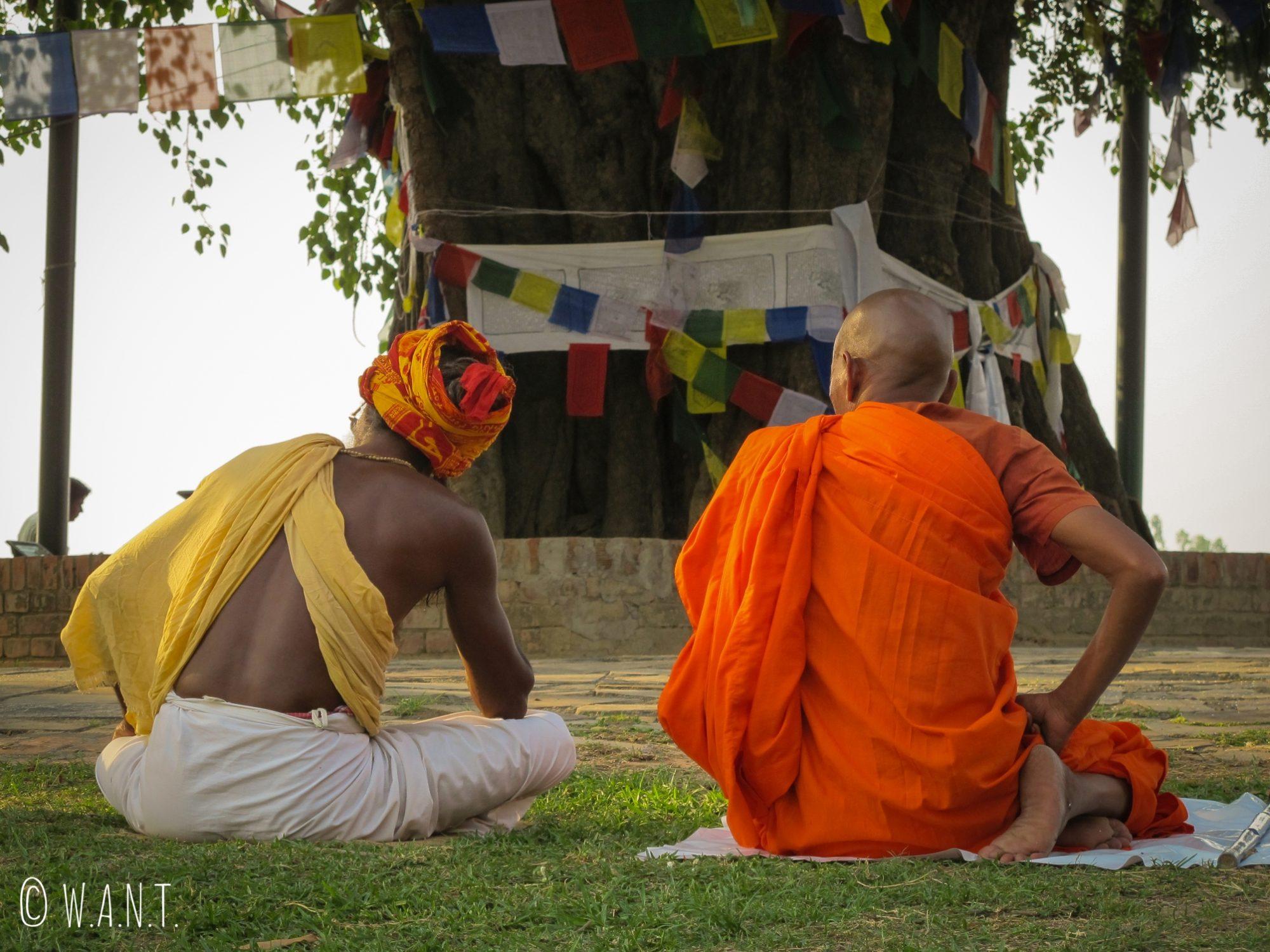 Les moines sont en pleine méditation autour du Bodhi Tree du temple Maya Devi