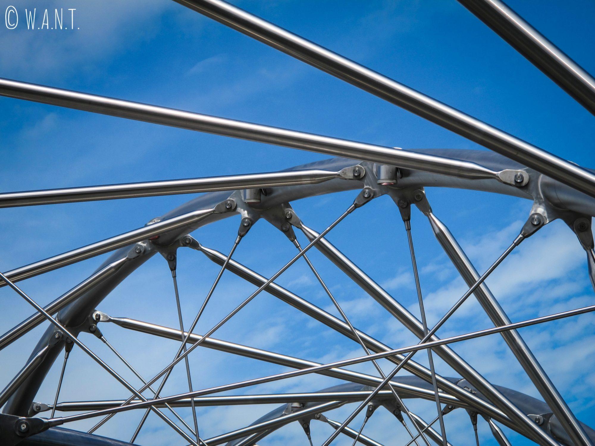 Architecture métallique du Helix bridge de Singapour