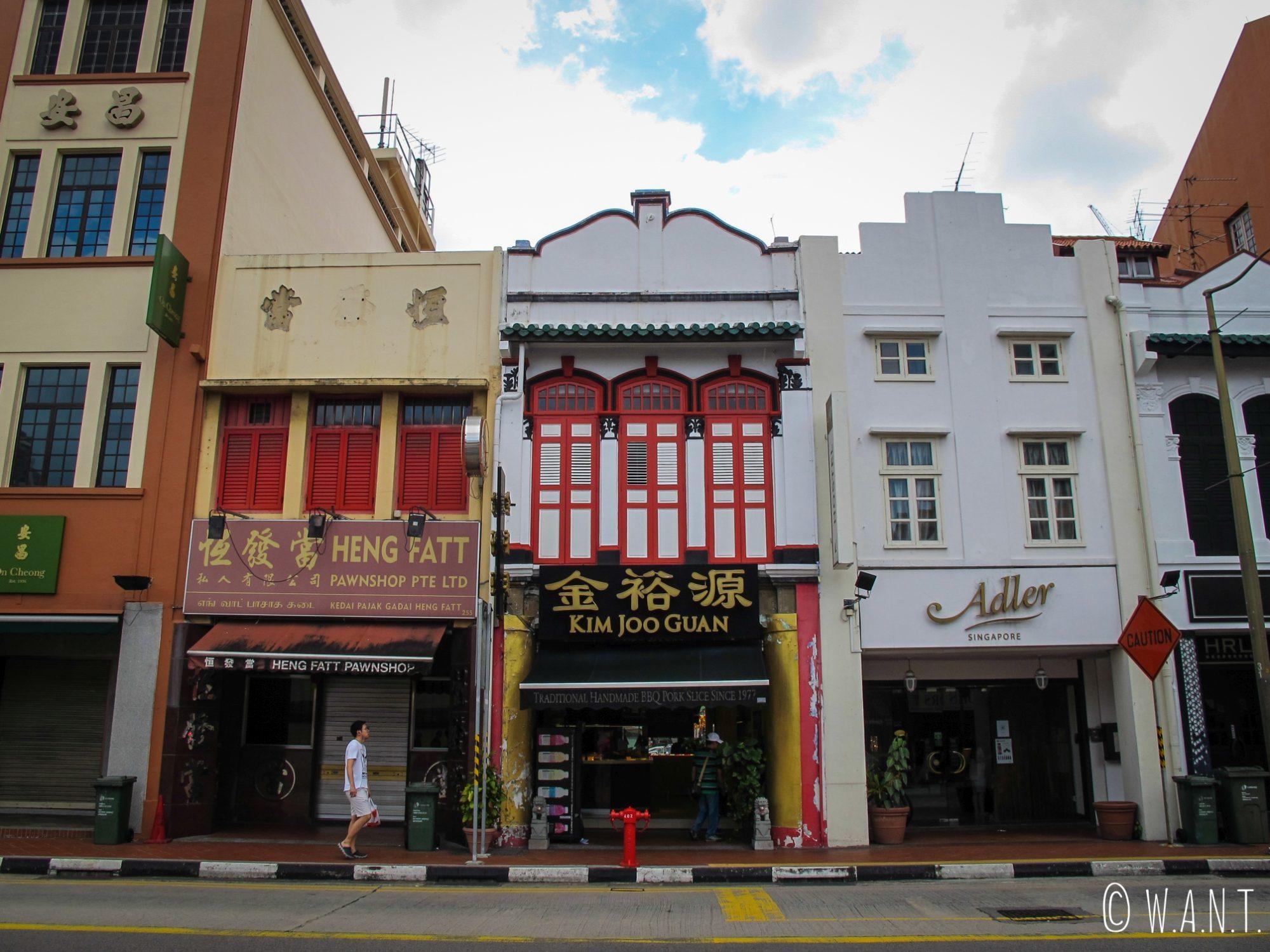 Architecture typique des rues de Chinatown à Singapour