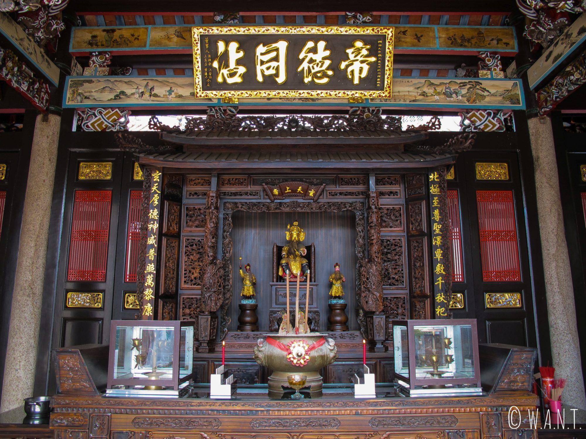 Autel du temple chinois Perutuan Teo Chew de Georgetown à Penang