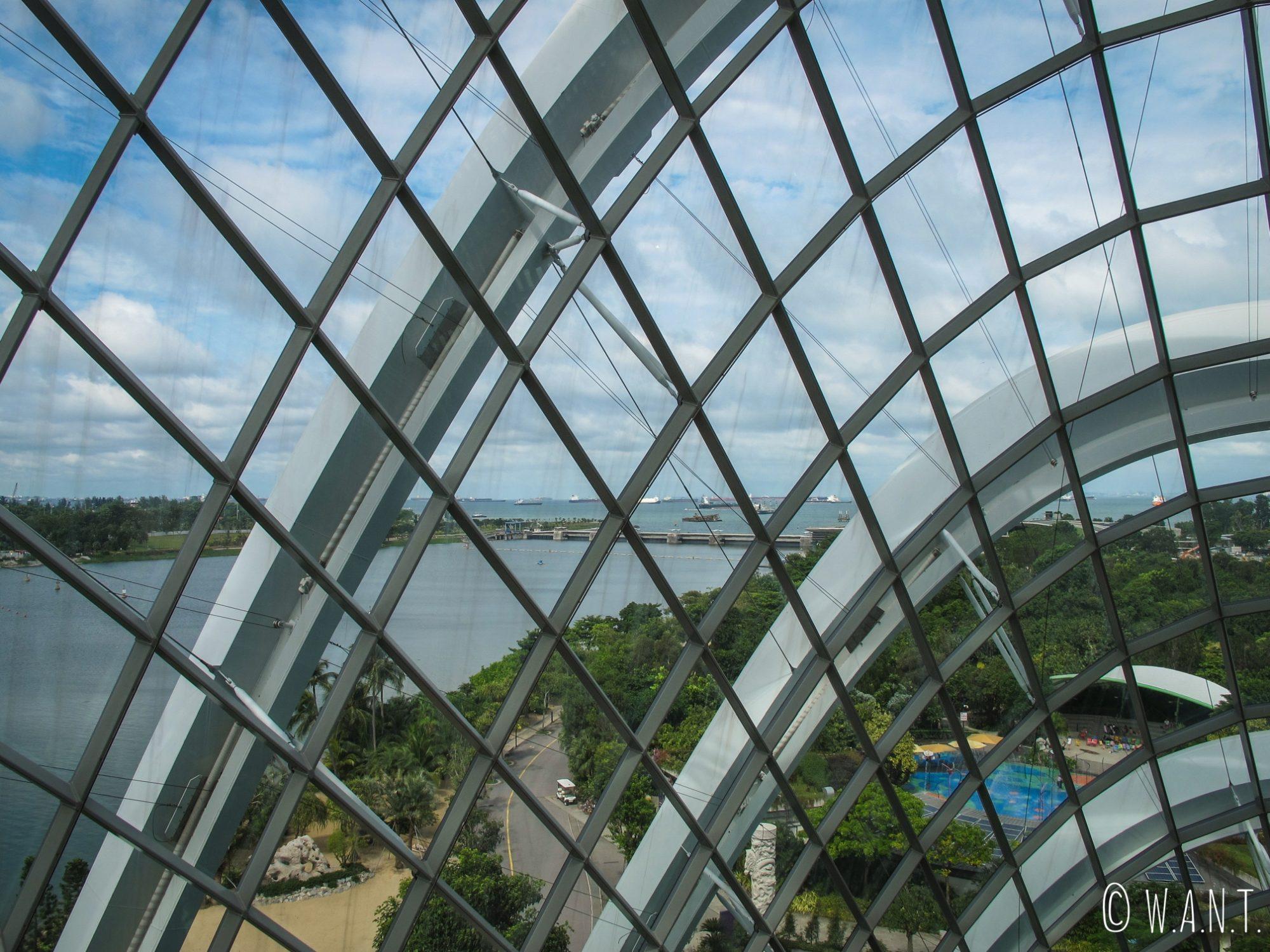 Depuis l'intérieur de Cloud Forest, nous avons également une vue sur la ville de Singapour