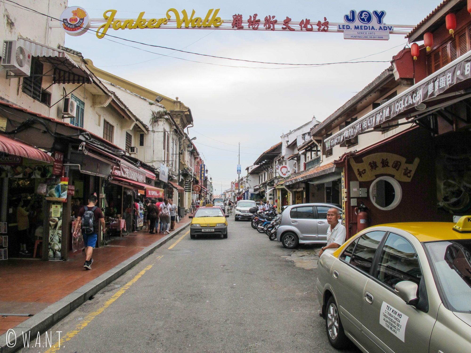 Entrée de Jonker Walk, rue principale du quartier de Chinatown de Malacca