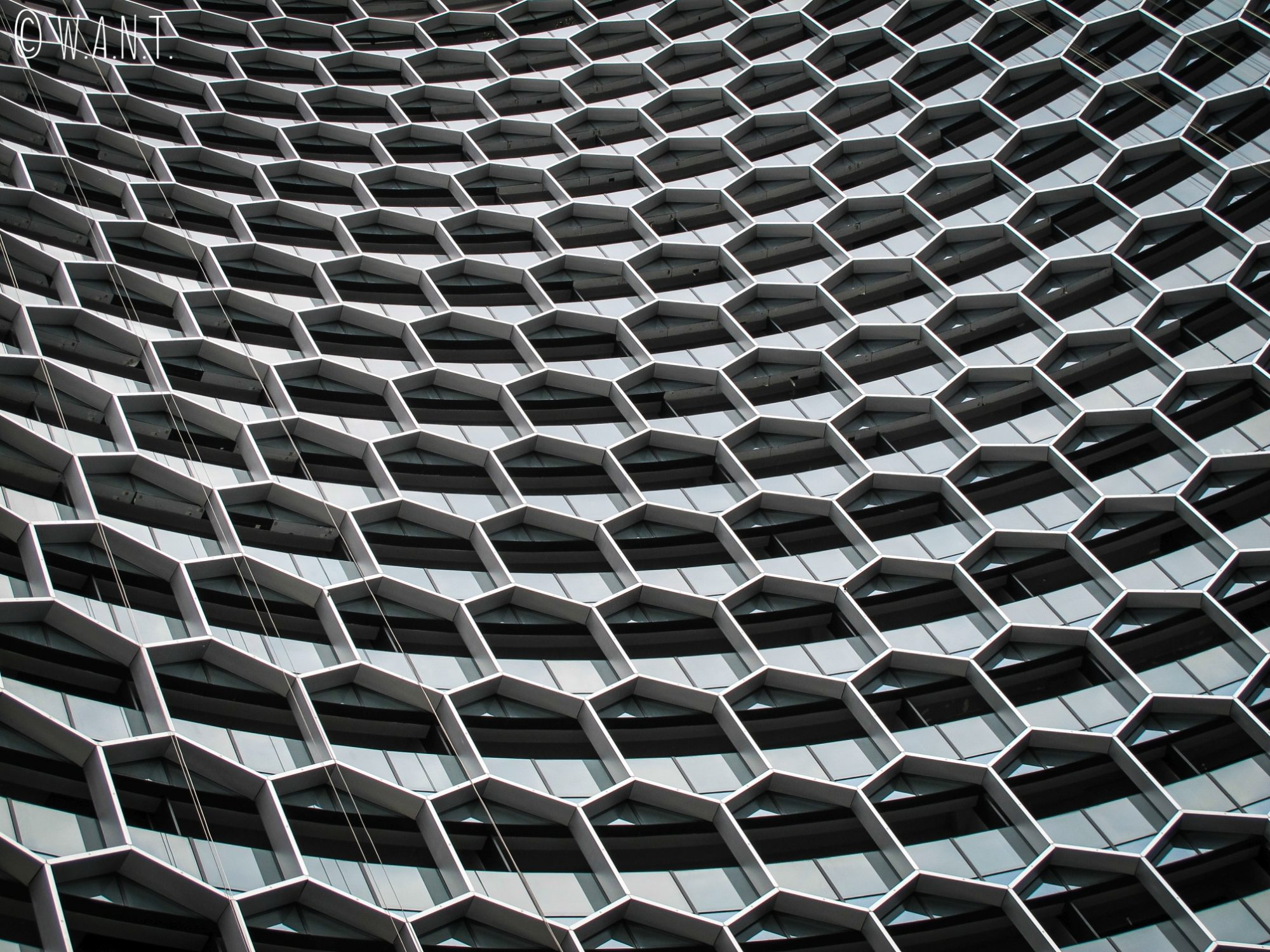 Façade d'un building en forme de nids d'abeilles