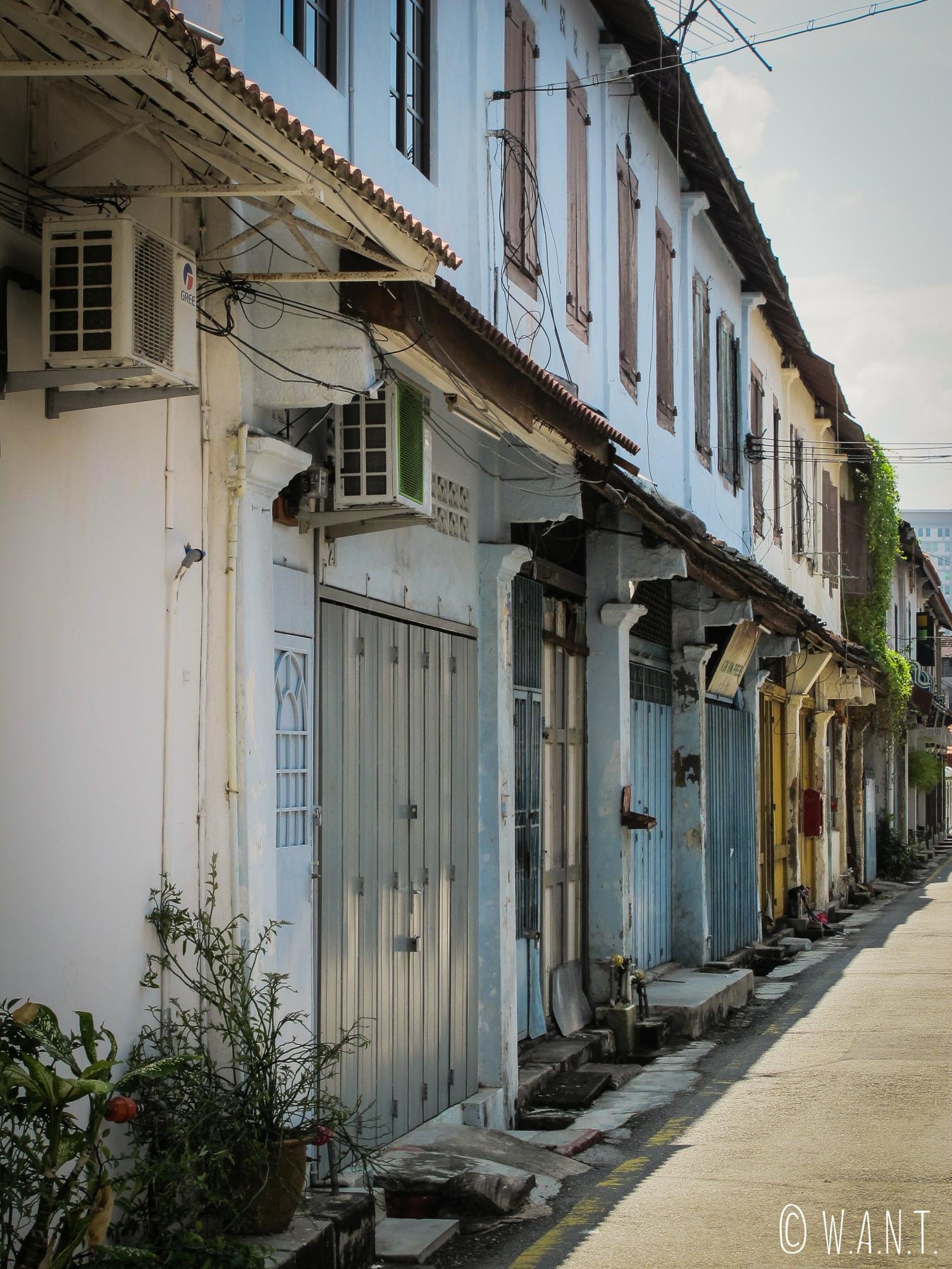 Façades colorées du quartier de Chinatown de Malacca