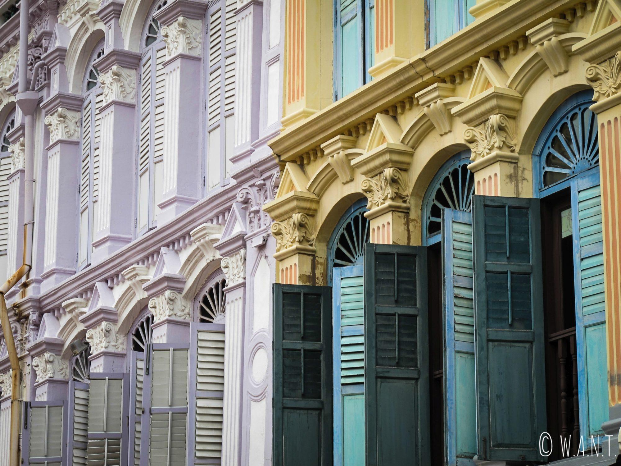 Façades du quartier de Chinatown de Singapour