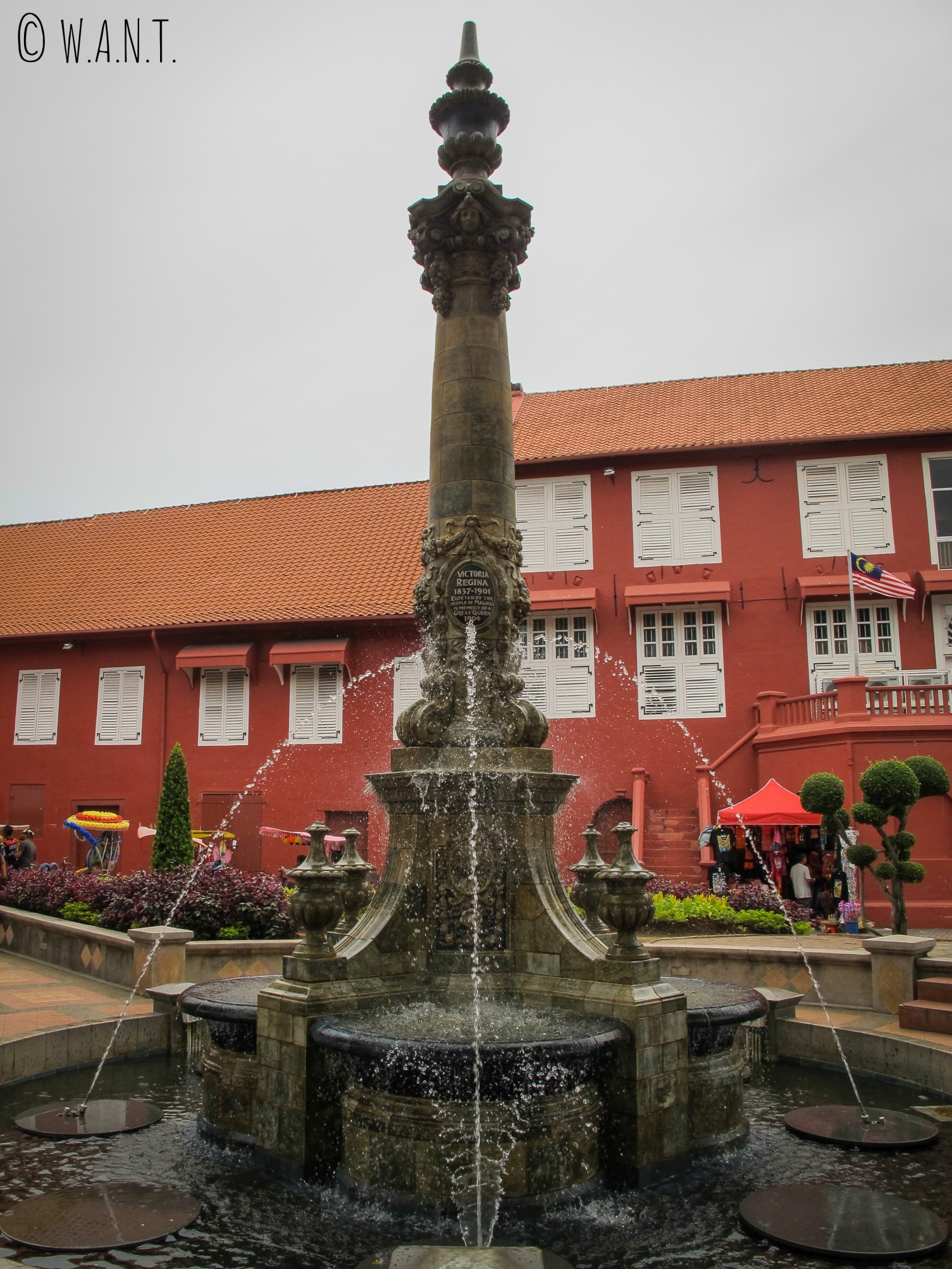 Fontaine Queen Victoria sur la place Dutch Square de Malacca