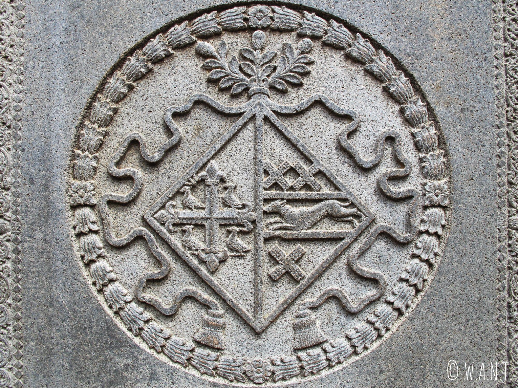 Fronton de pierre tombale dans l'église St Paul de Malacca