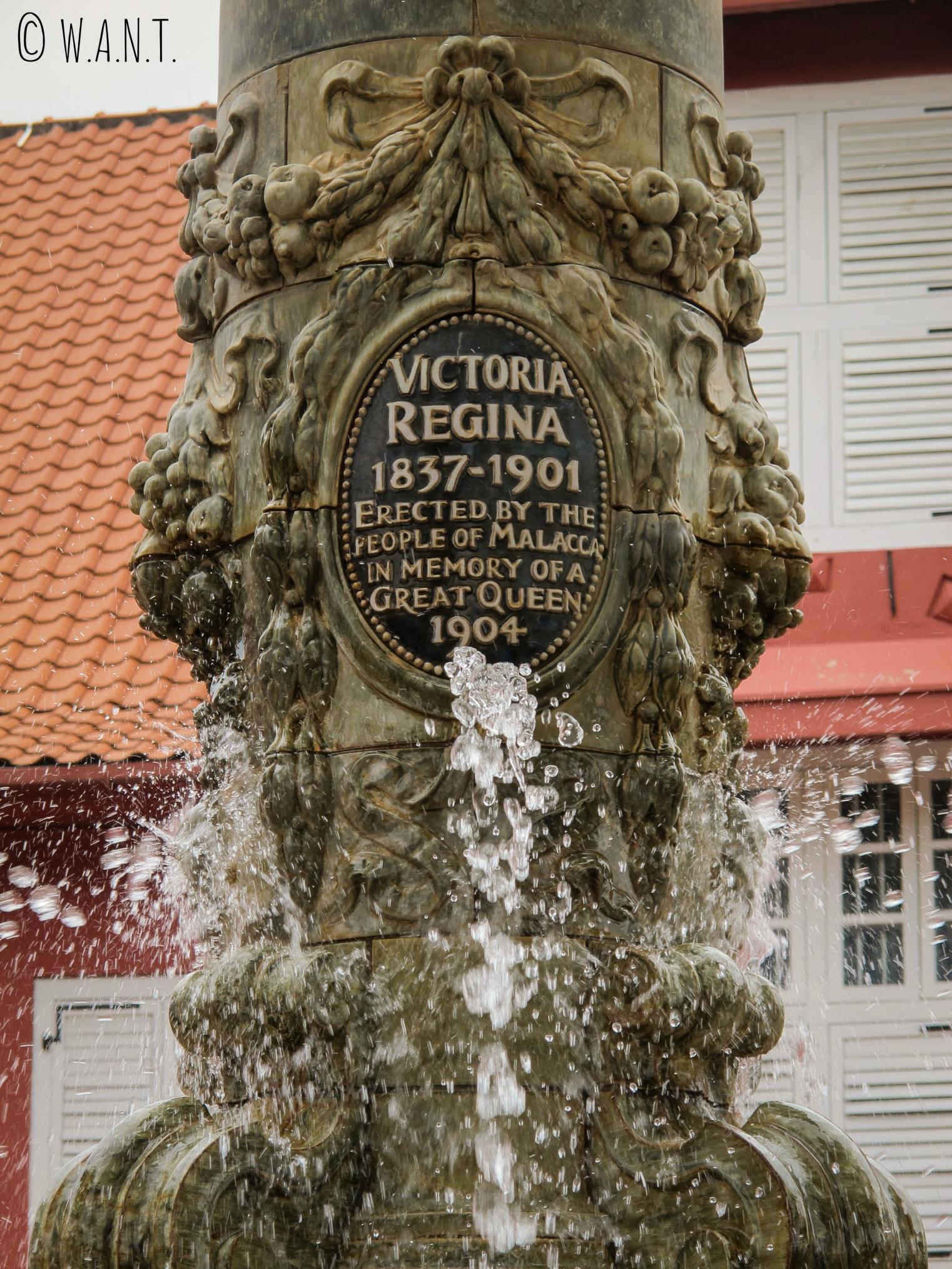 Gros plan sur la fontaine Queen Victoria de Malacca