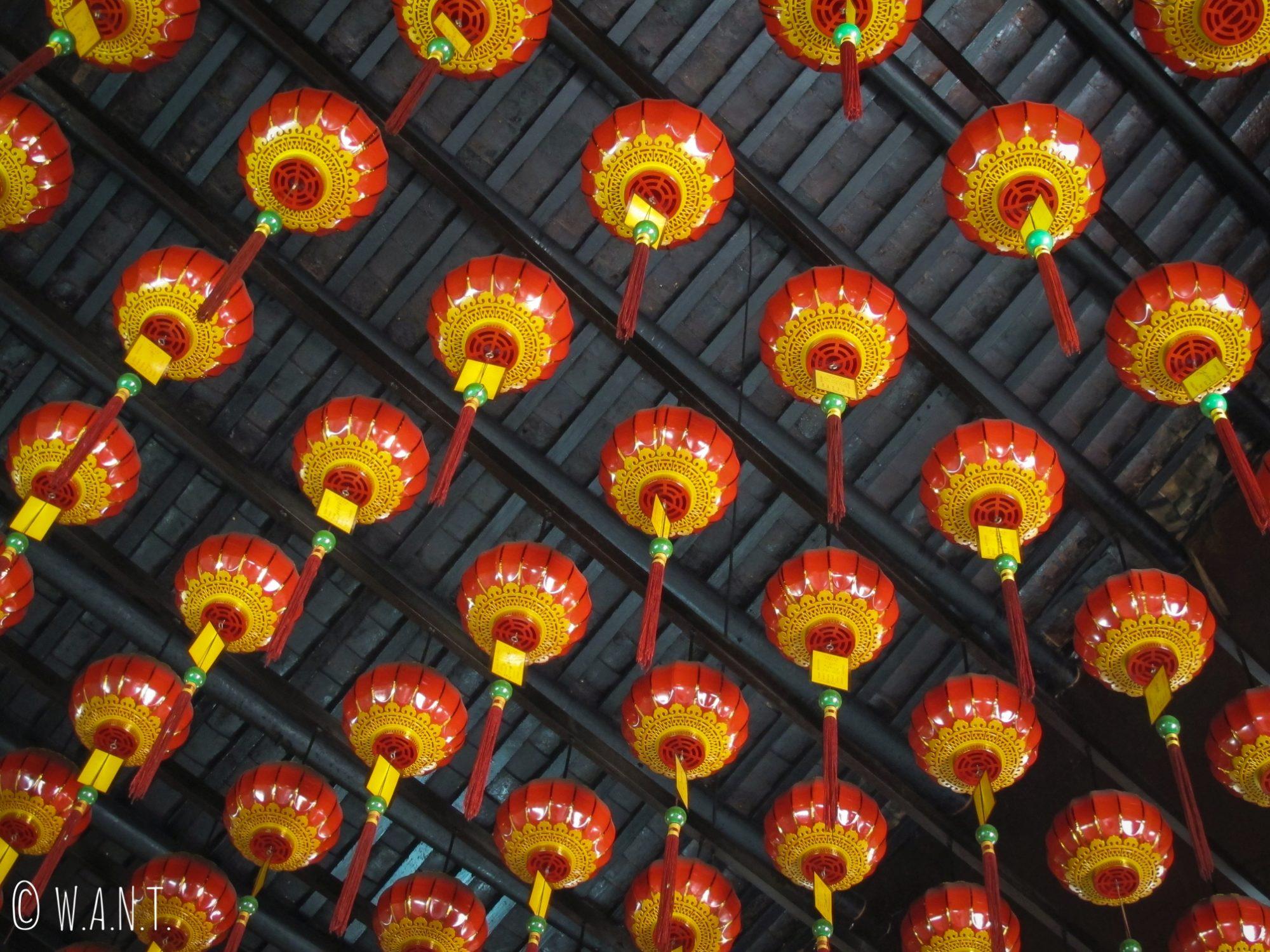 Lanternes du temple cantonnais Nin Yong dans Georgetown à Penang