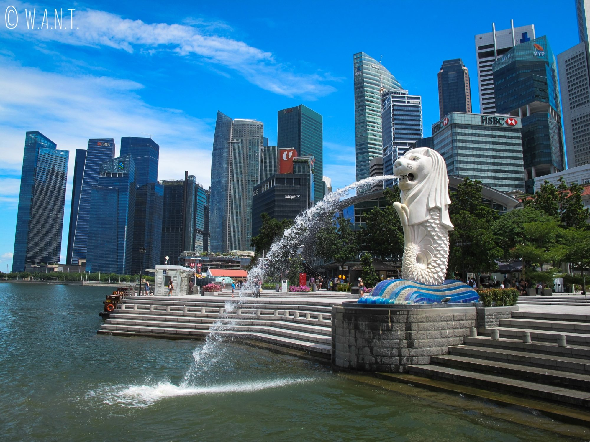 Le Merlion trône devant la Skyline de Singapour