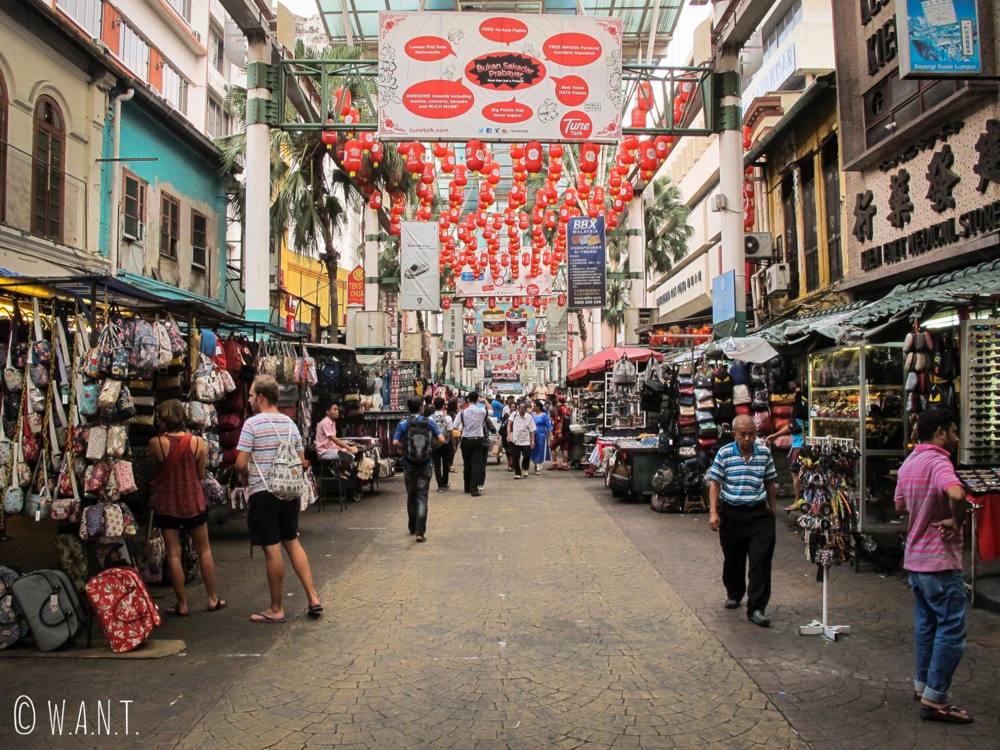 Le quartier de Chinatown de Kuala Lumpur s'organise autour de la rue Petaling Street