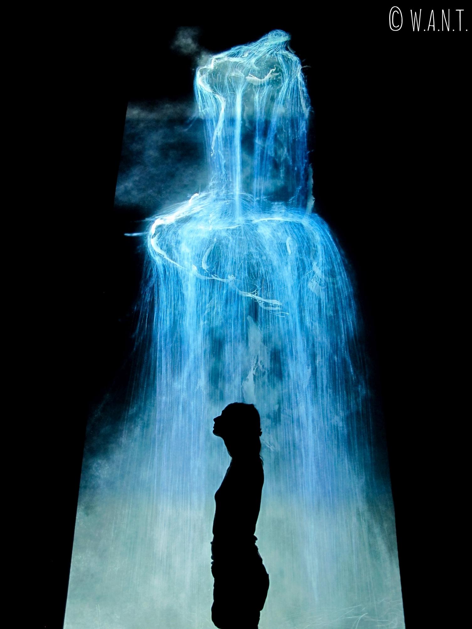 Marion devant l'oeuvre Universe of Water Particles présentée à l'exposition Future World de l'ArtScience Museum