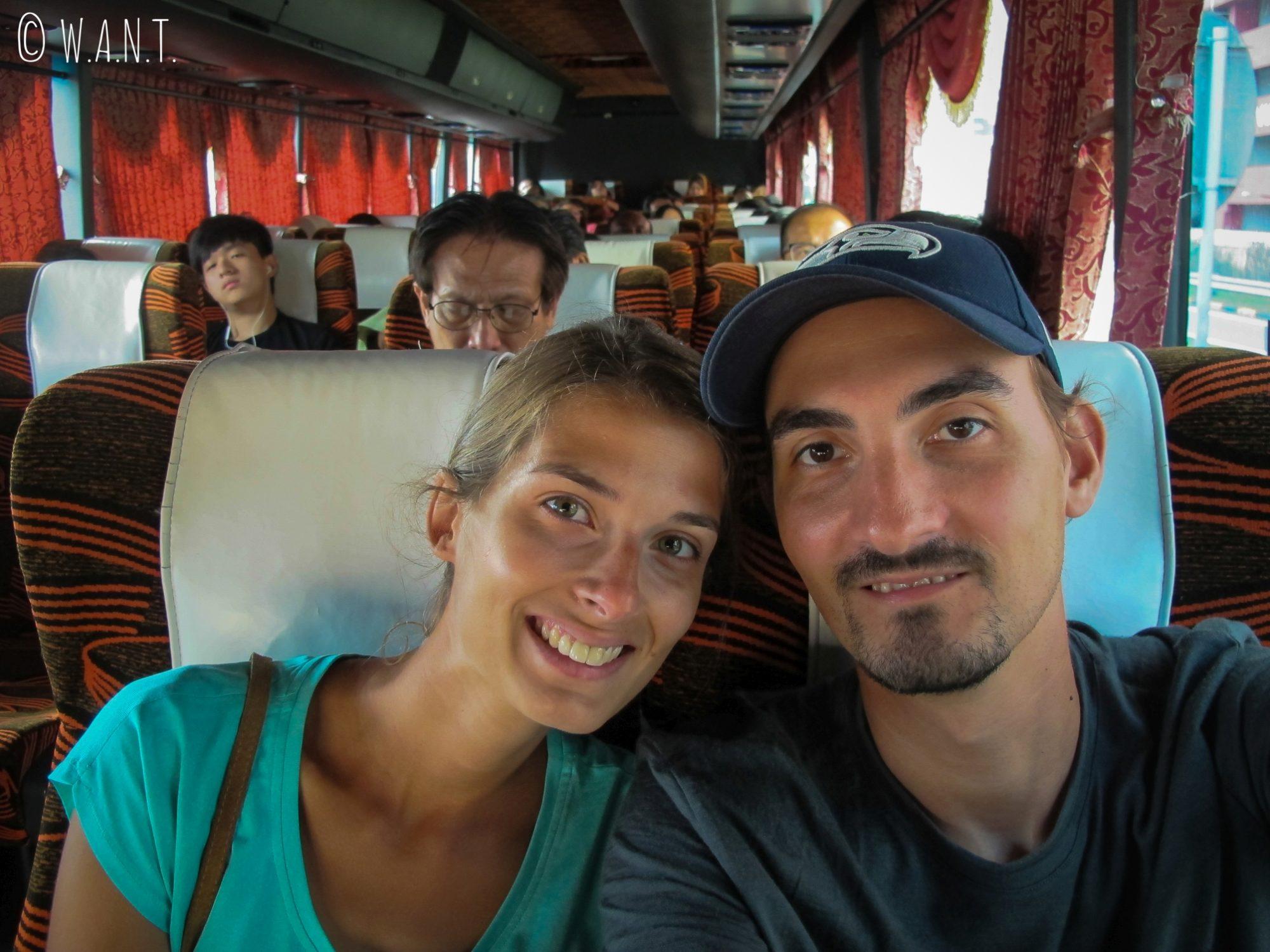 Nous prenons un bus pour rejoindre Malacca depuis Kuala Lumpur