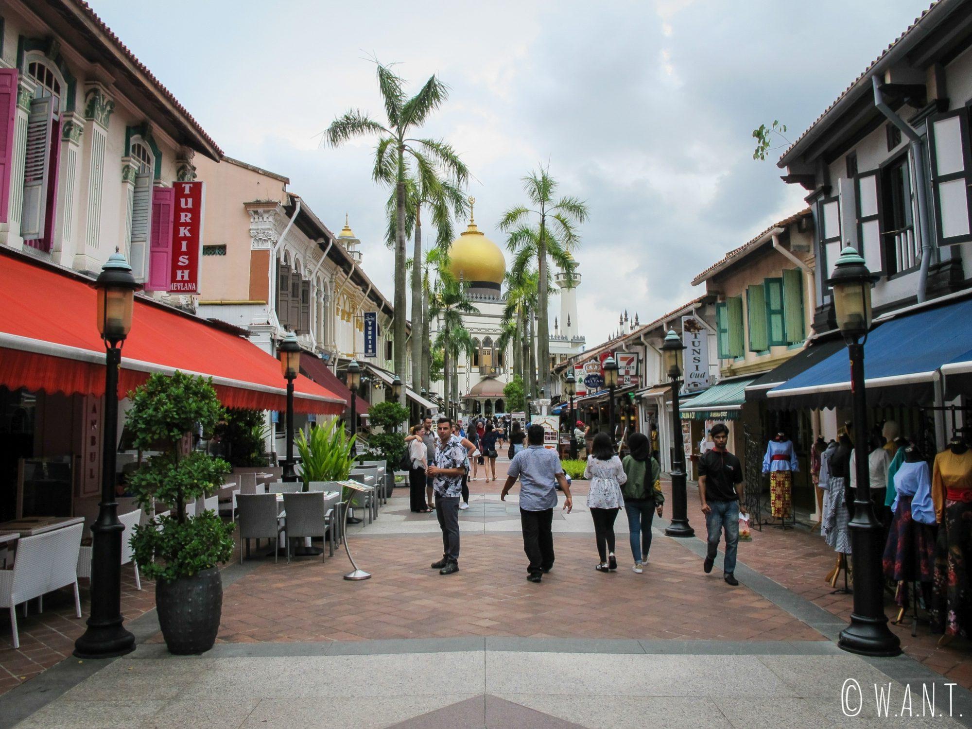 Rue animée menant à la mosquée Masjid Sultan de Singapour