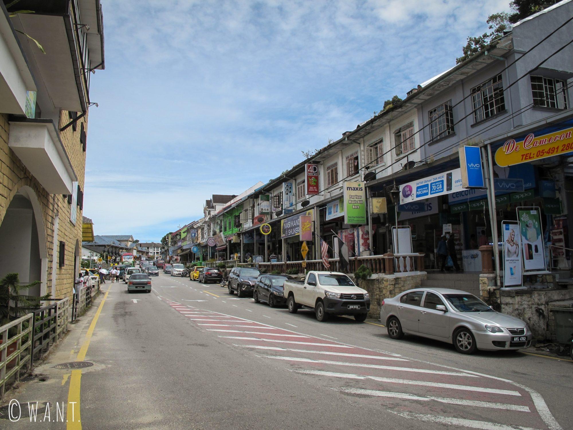 Rue principale de Tanah Rata dans les Cameron Highlands