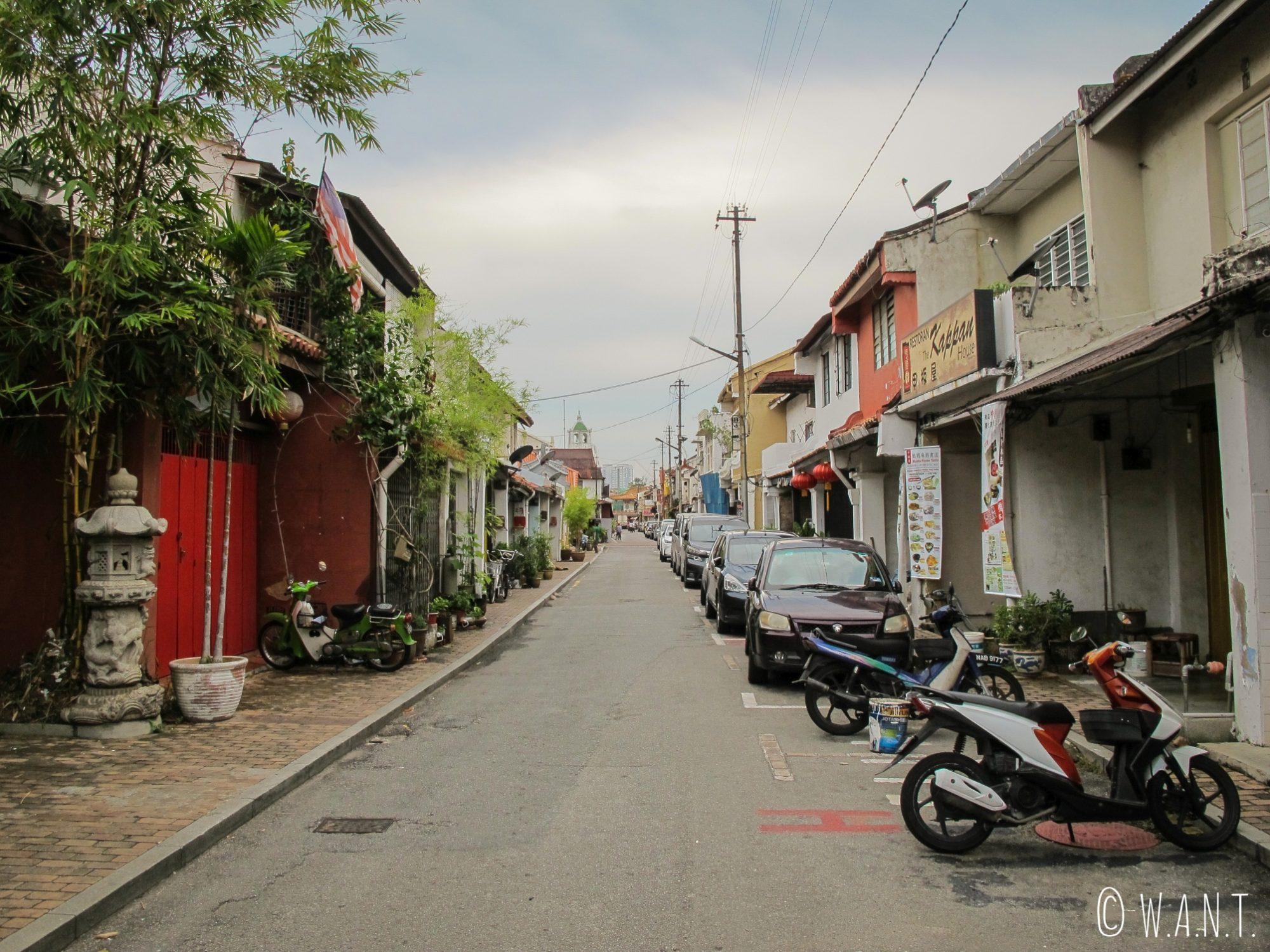 Rue résidentielle du quartier de Chinatown de Malacca
