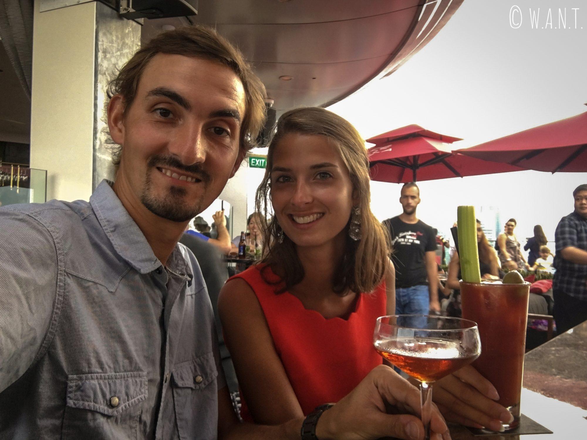 Selfie au bar CéLaVi du Marina Bay Sands