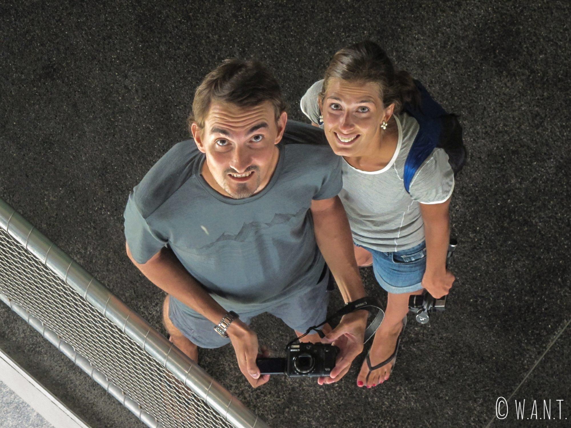 Selfie dans le plafond d'une gallerie à l'intérieur de Cloud Forest