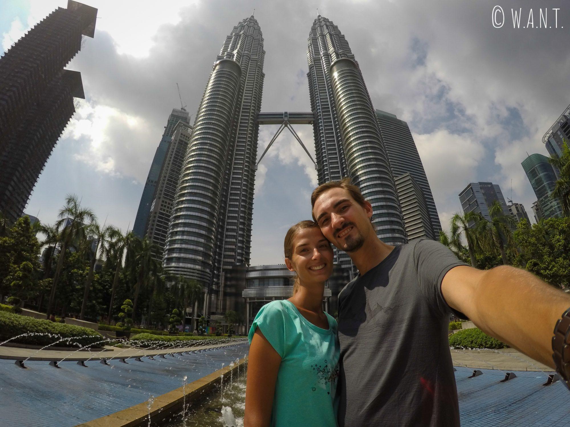 Selfie devant les Tours jumelles Petronas
