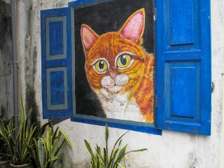 The Cat from The Window, art de rue dans Georgetown à Penang