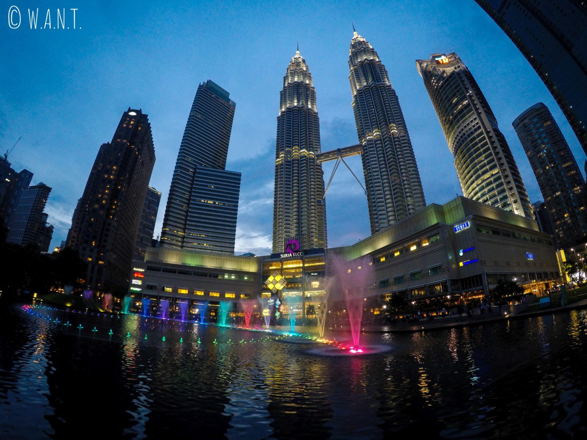 Vue de nuit sur les Tours jumelles Petronas