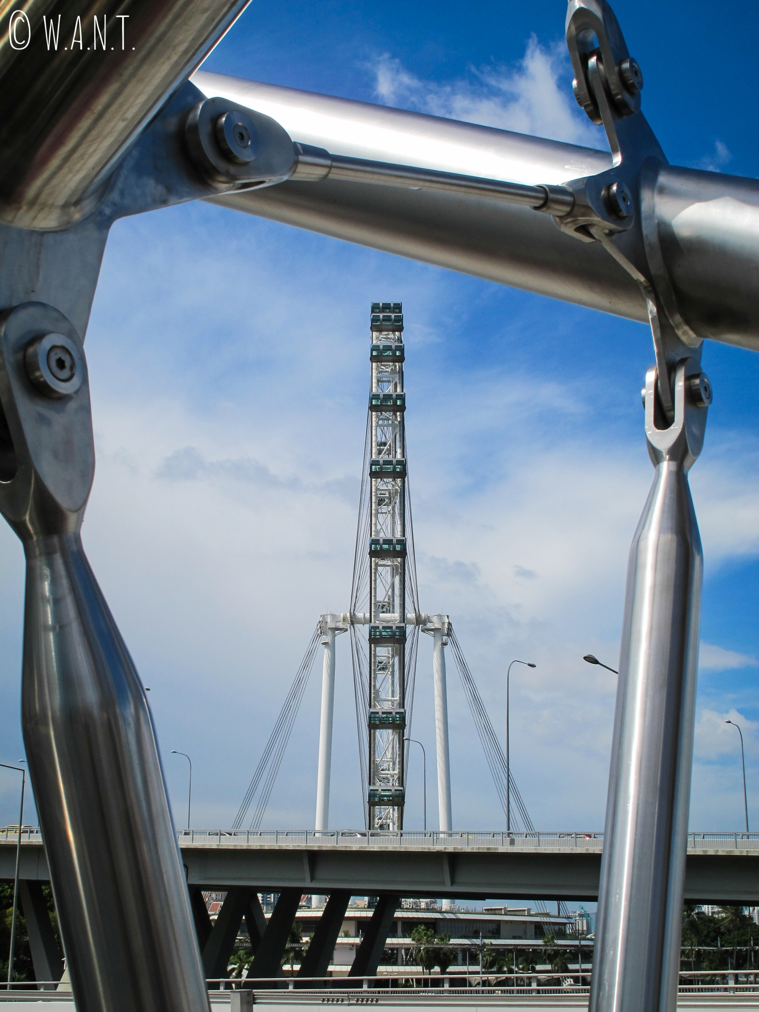 Vue sur la grande roue de Singapour depuis le Helix bridge