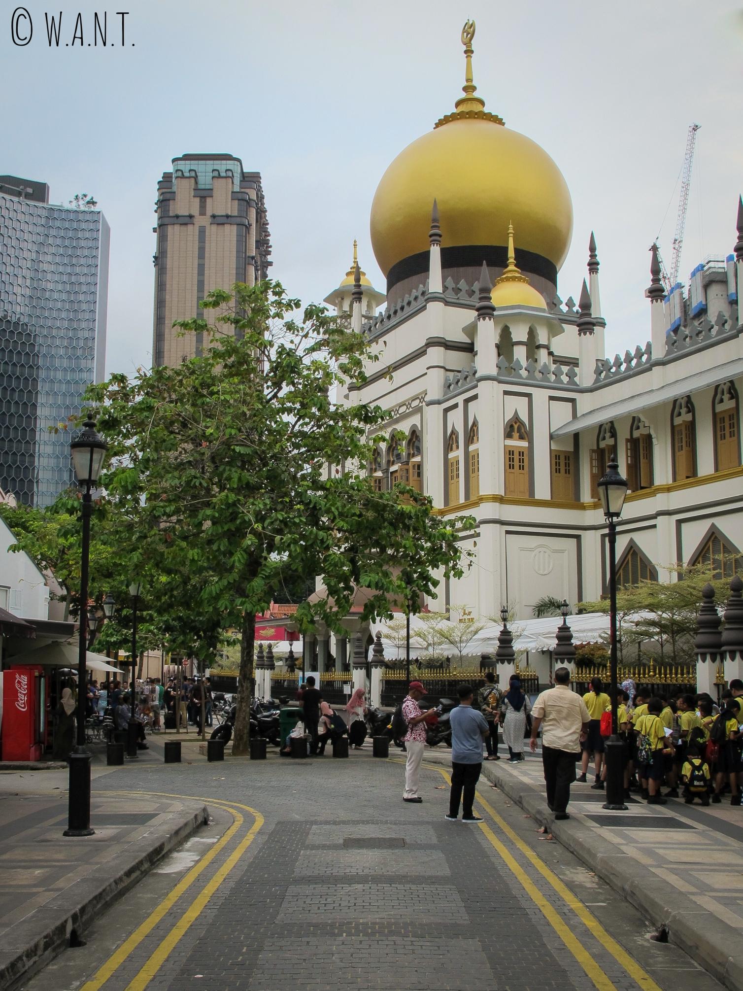 Vue sur la mosquée Masjid Sultan de Singapour
