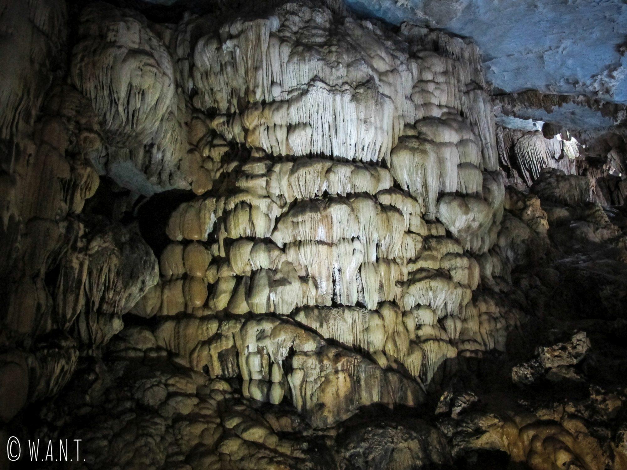 Gros plan sur les stalactites de Paradise Cave à Phong Nha