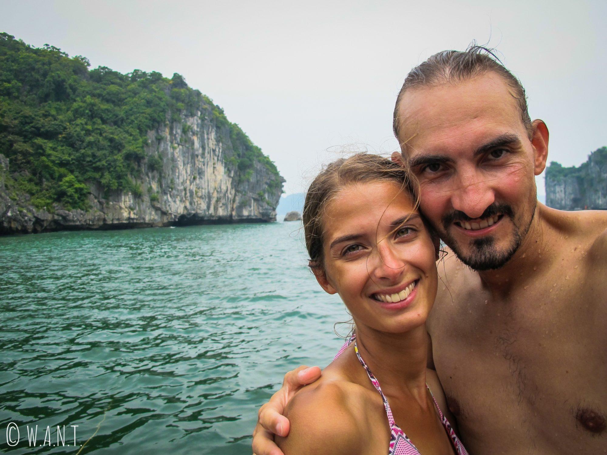Selfie dans la Baie de Lan Ha lors de notre excursion en bateau