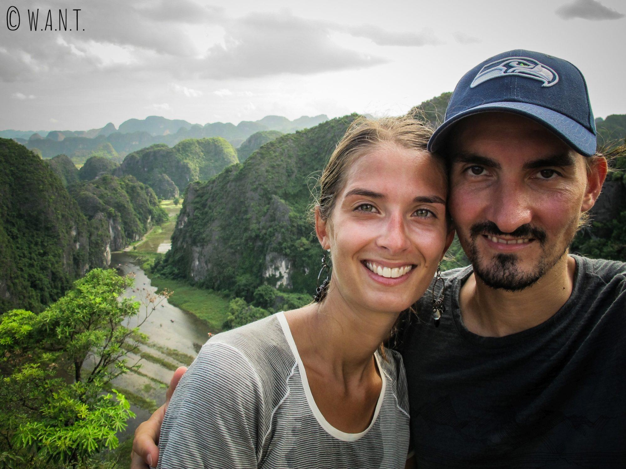Selfie depuis le point de vue de Mua Caves à Tam Coc