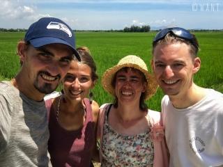 Selfie devant les rizières de Hoi An