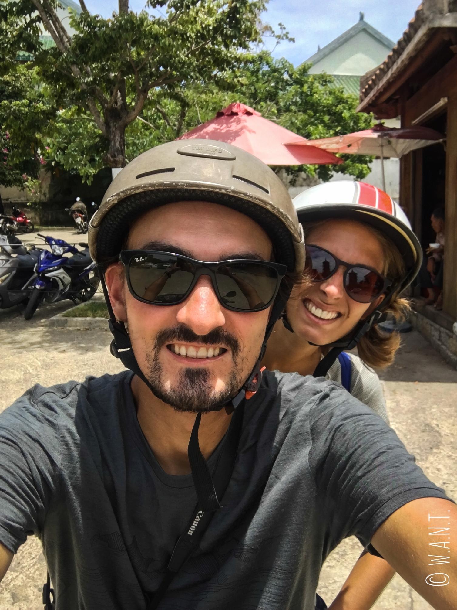 Selfie sur notre scooter à Da Nang