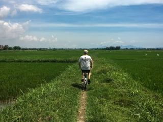 Vincent pédalant à travers les rizières de la région d'Hoi An